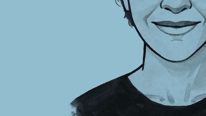 Illustrated avatar of the correspondent, against a light blue background.