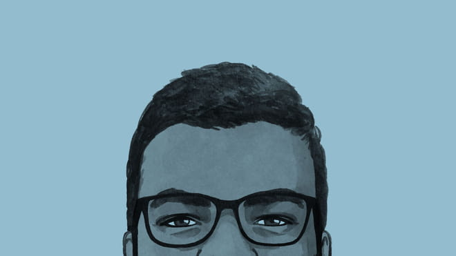 A section of an illustration of the author's face against a blue background.