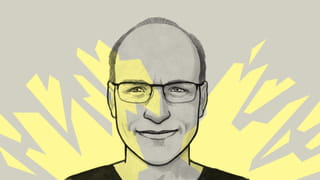 Illustration of a smiling man with short hair and glasses - on a grey and yellow background