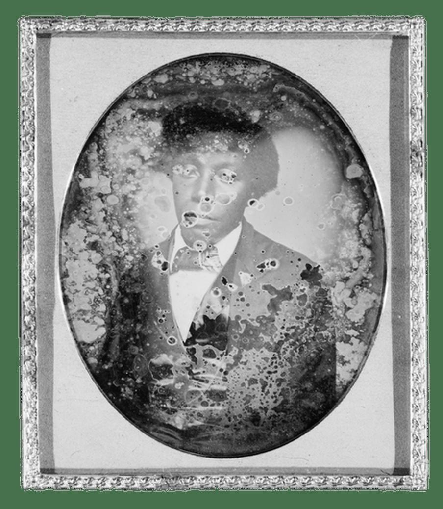 Old damaged portrait of a man