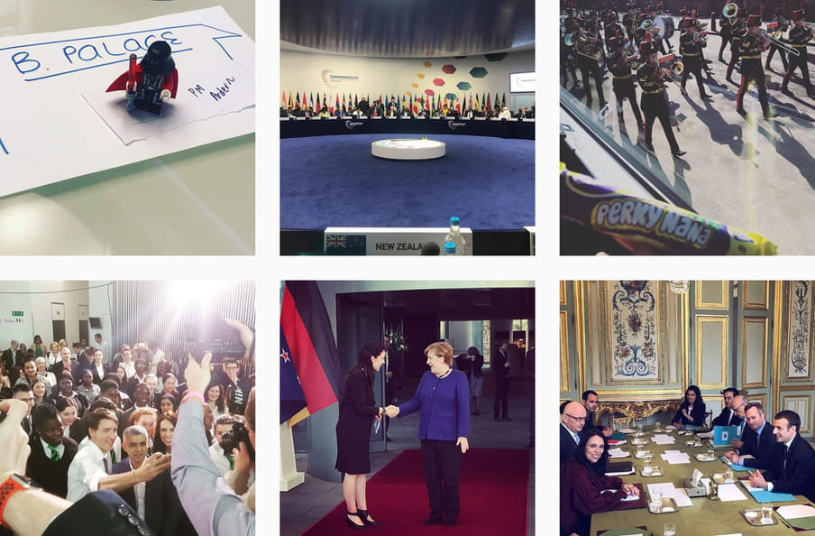 Instagram screenshot of her and Merkel shaking hands, her looking at a marching band, her taking a selfie with Justin Trudeau, a photo of a toy on a desk and her at a conference.