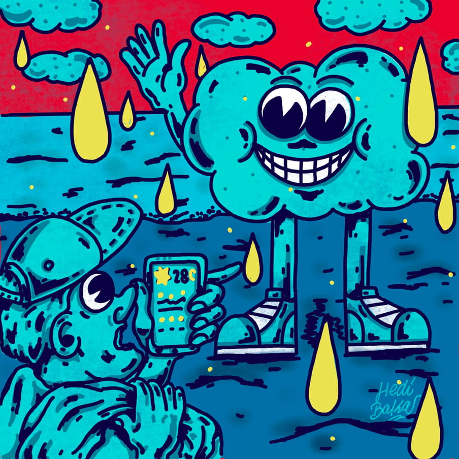 A caricature of a blue man in a cap bottom right, with big eyes and looking like he is gasping, checking his phone's weather app (which says 28 degrees). Amidst a red sky of blue clouds, we see a blue cloud with legs, trainers and hands waving into the sky, smiling a full set of teeth at the man in the cap.