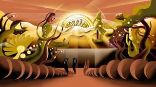 Illustration by Munir de Vries showing a coin as a rising sun.