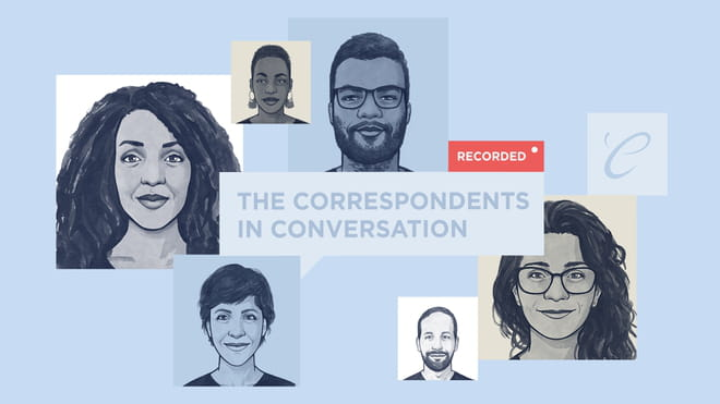 Light blue background, 6 rectangle or square shaped avatars of black and white illustrated faces dotted around the page in a sort of wide circle. Middle is a speech bubble saying' the correspondents in conversation', with a red rectangle top right of it saying 'recorded'