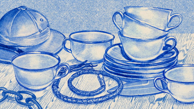 Illustration of teacups surrounded by a whip and chains.