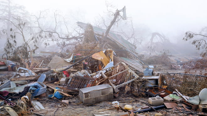 Photo of a destroyed house