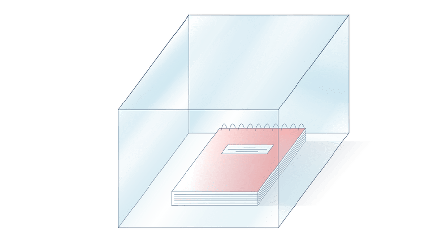 Illustration of a glass box filled with a notebook
