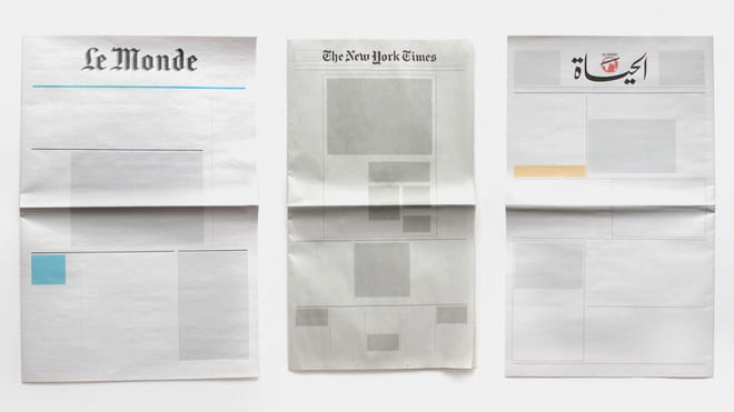 Frontpages of three newspapers, stripped of content. From the series Nothing in the News by Joseph Ernst.
