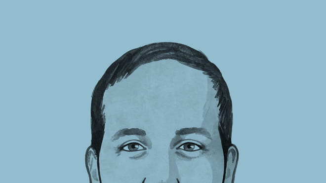 Drawing of a close-up of a man's face on a blue background.