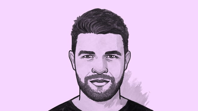 Illustrated avatar of a man with short hair and a beard - Elliot Ross - on a blue background.