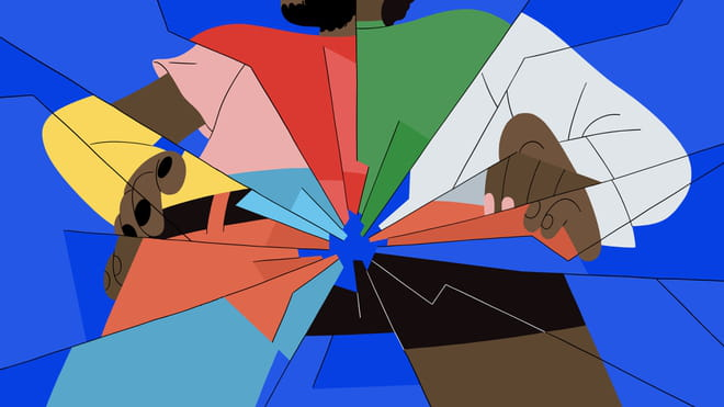 Illustration mainly in blue of four people's bodies facing to front, cracked into mirror pieces; the jumper for example is split into red and green pieces, and the trouser legs are light blue and brown; either arm is in yellow and then white, and you see different parts of different people's hands super-cut onto one