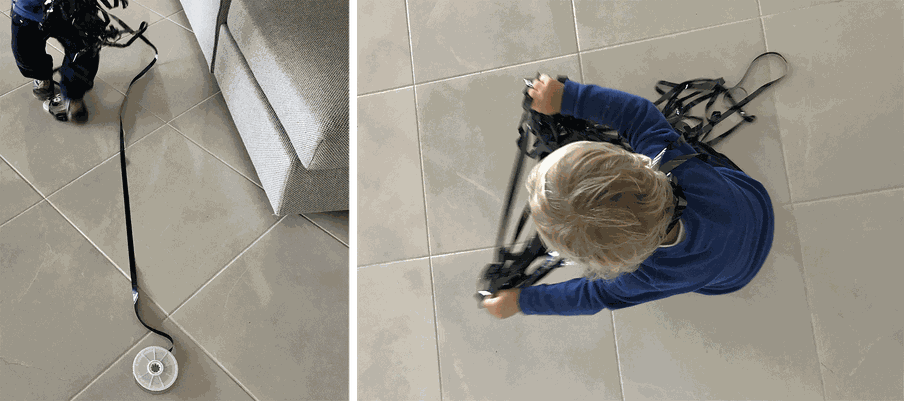 There are two photos. The one to the left shows a child's feet with unrolled film and a film reel on the floor. The one to the right shows a child's head as the child plays with tangled up film roll.