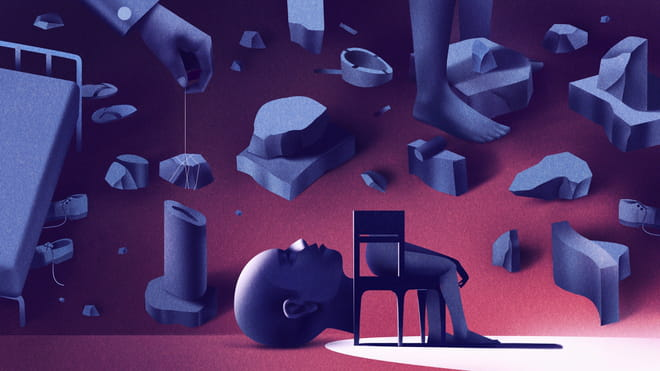 Illustration by an artist, an interpretation of sanity. Front and centre a chair is illustrated with half a person sitting on it, and fragmented body parts are spread throughout the image. Several visual metaphors related to sanity are in the images such as obstacles in the form of rocks, shoes scattered around, a hand with a rock attached to a string above a vase, in which the form of the rock does not match the shape of the vase.