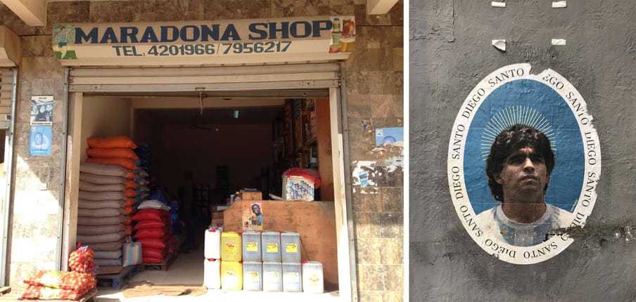 Two photos one next to another. The one to the left shows the entrance of a shop selling seeds and more (in Banjul, The Gambia) called Maradona Shop, with an image of the footballer next to the name. The one to the right shows a poster in Naples that is oval and shows Maradona's face in the middle with an aureola over the head, mimicking religious images of saints. It says Santo Diego (Saint Diego) repeated several times around the face.