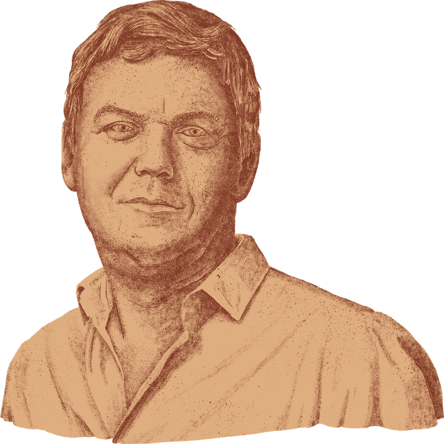 Illustration of a man wearing a formal shirt, with short hair. He's drawn as a statue.