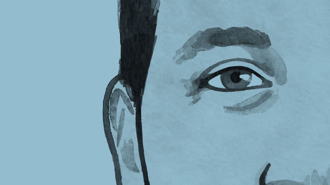 close up of a drawing of a man's face on blue background