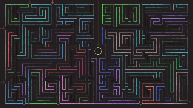 Illustration of a maze, where out of all entrances, one is very clearly just a straightforward path to its center.