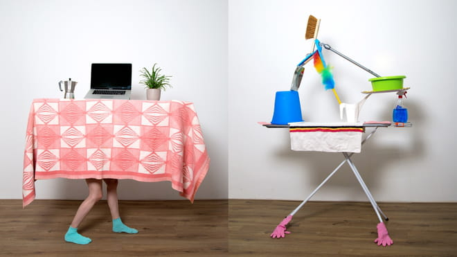 Two pictures next to each other: in the left one two human legs are carrying a table with a laptop, a plant and a coffee machine with a red table cloth. In the right one is an ironing table with households on top of it (brush, dust cleaner and bowls)