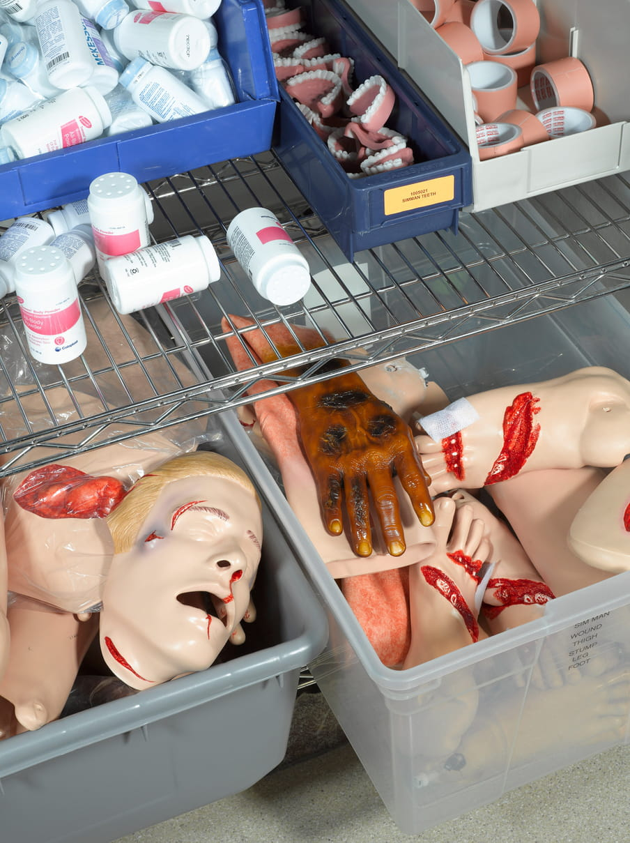 Photo of a closet with containers holding plastic heads, teeth, feet and hands.