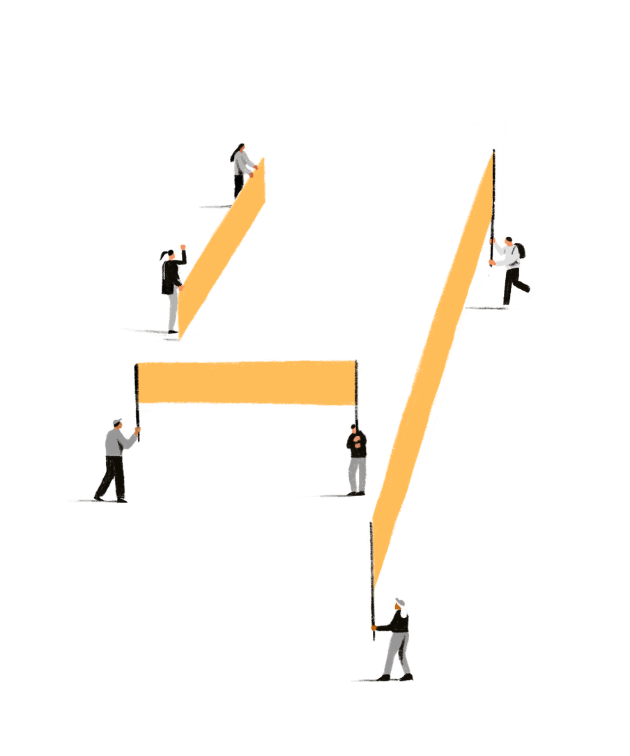 Illustration of people holding yellow banners, together forming the shape of the number 4