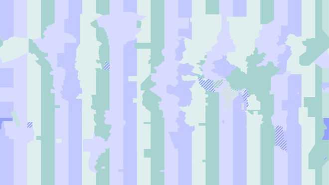 Light pastel shades of lilac, purple, green, yellow and white are lain against each other in tall rectangles, with the outline of the world map interrupting their straight lines