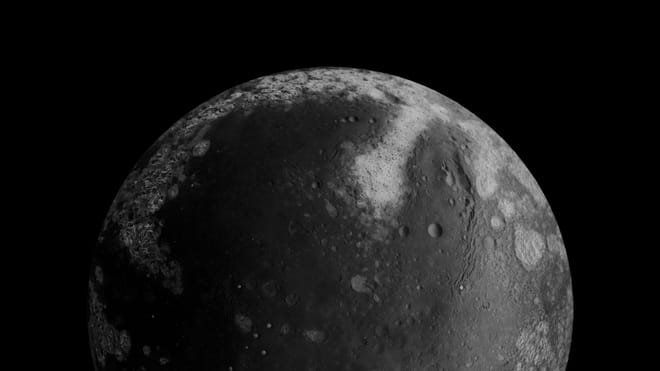 Black and white image of what appears to be the surface of the moon against a black background, a circle with textures and different tears and circles on its surface