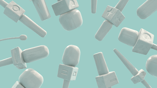 3D illustration of white news microphones coming in to the image from all sides on a pastel blue background
