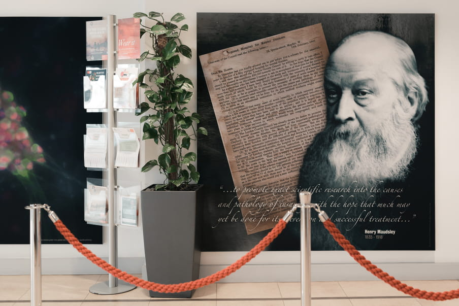 """Wallpaper on a wall with a quote by Henry Maudsley saying """"...to promote exact scientific research into the causes and pathology of insanity with the hope that much may yet be done for its even [a few words are not readable due to a pole blocking the view] successful treatment"""". A plant and some flyers in a rack are standing next of it."""