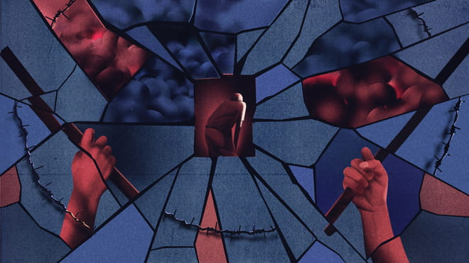 Illustration of shattered glass with a man with his hands on his knees in the middle. Barbed wire surrounds the image, with hands holding sticks next to it.