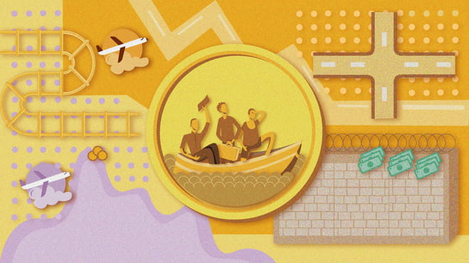 Illustration of a yellow coin. The image on the coin shows three people at sea on a small boat. In the background there are icons related to migration.