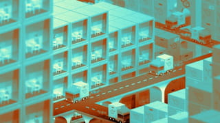 Illustration of a city landscape viewed from above. People inside their apartments can be seen from their window, meanwhile tracks transporting packages are circulating in the streets