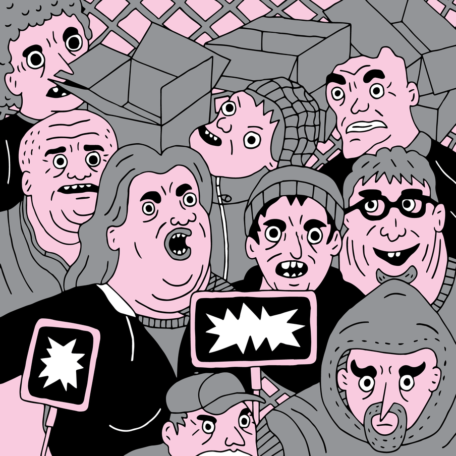 Illustration of human figures faces in pink and black