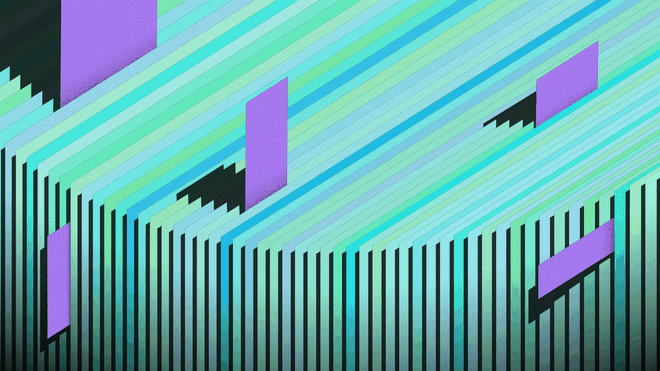 Illustration of a set of papers with little purple bookmarks sticking out in different shapes