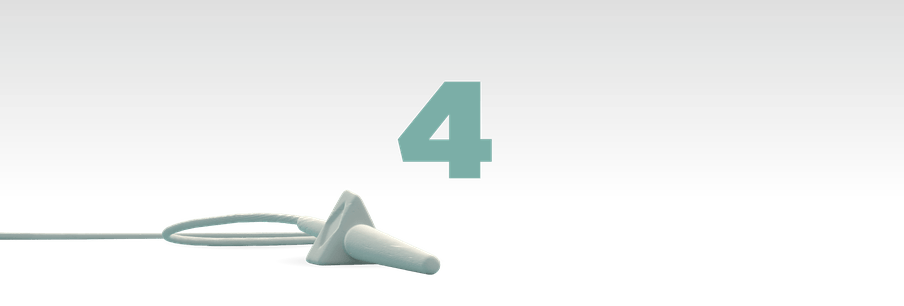 Illustration of the number four in green with a mic laying in front of it
