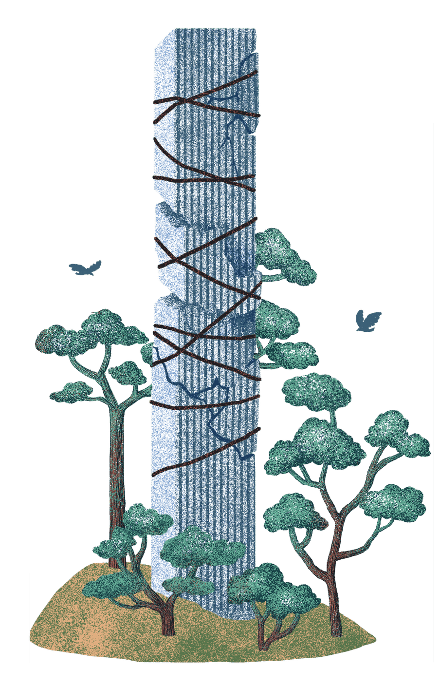 Illustration of a building with cracks in it and rope holding it together, young plants grow around it