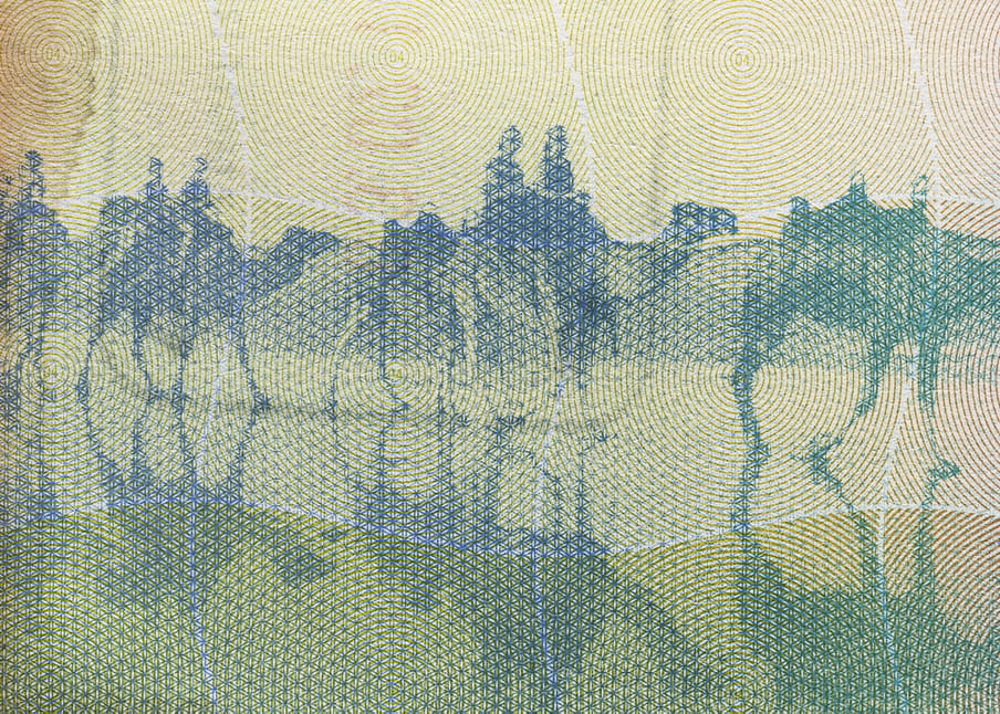Excerpt from passport, a dark yellow blue and green patterned image showing figures riding camels, their shadows falling below