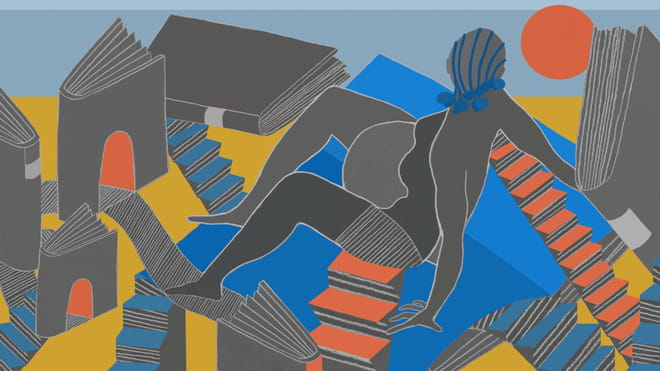 Orange, blue and yellow illustration of a pregnant figure in grey sitting on the ground, arms behind her, surrounded by shapes of grey books, some standing, with doorways running through them, and staircases running down into other books, some fallen.