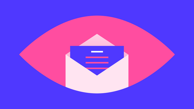 Pink, eye shape against a blue background. An open white envelope is in the middle of the eye shape, with a blue letter popping out where the pupil of the eye should be, with white and pink lines on it signifying writing.