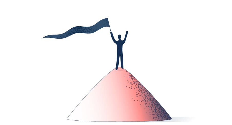 Illustration of a little human-like figure standing on top of a little pink hill, waving a dark blue flag.