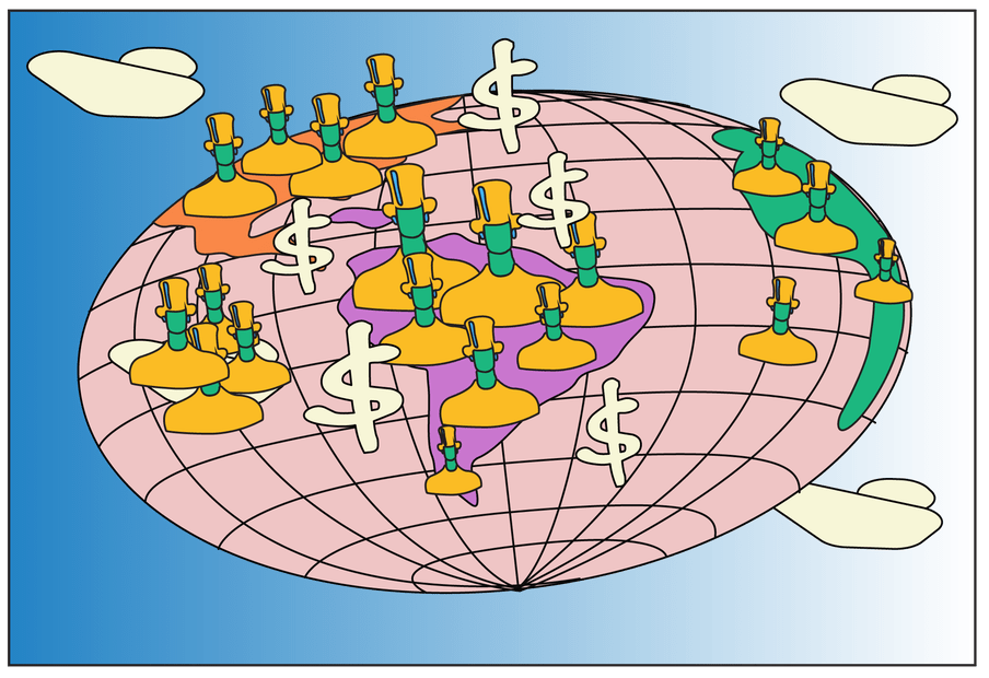 Illustrated planet, as a pink geometric ball, with green pawns wearing yellow tops and top hats, stamped around the continents of the Americas (in orange at the top and purple below), Australasia (in white), and a bit of Africa (in green). Four white cartoonish dollar signs arise from the centre of the planet. In every corner bar the bottom left, we see a white shape resembling a cloud or ship, against a blue background.