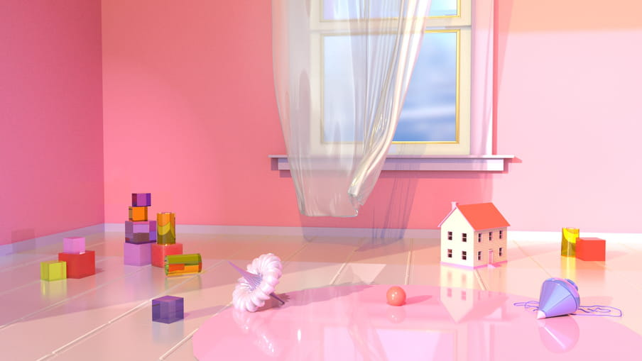 Pink 3D illustration of walls with a window pane & sill, transparent white curtains billowing, series of toys on the flower: red, purple, yellow, orange and green cubes stacked to the left, but also a white and lilac spinning top centre left, a ball centre right, a small white house with windows and a roof to the right, a lilac spinning top and further two orange and yellow cubes to the back and right. The floor is tiled transparently but has the sheen of the pink from the walls