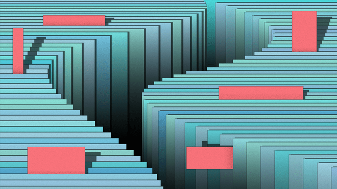 Graphic; Illustration of an abstract stack of papers in different shades of blue and greyish puple that are aligned in a wavy line with small red notes that stick out