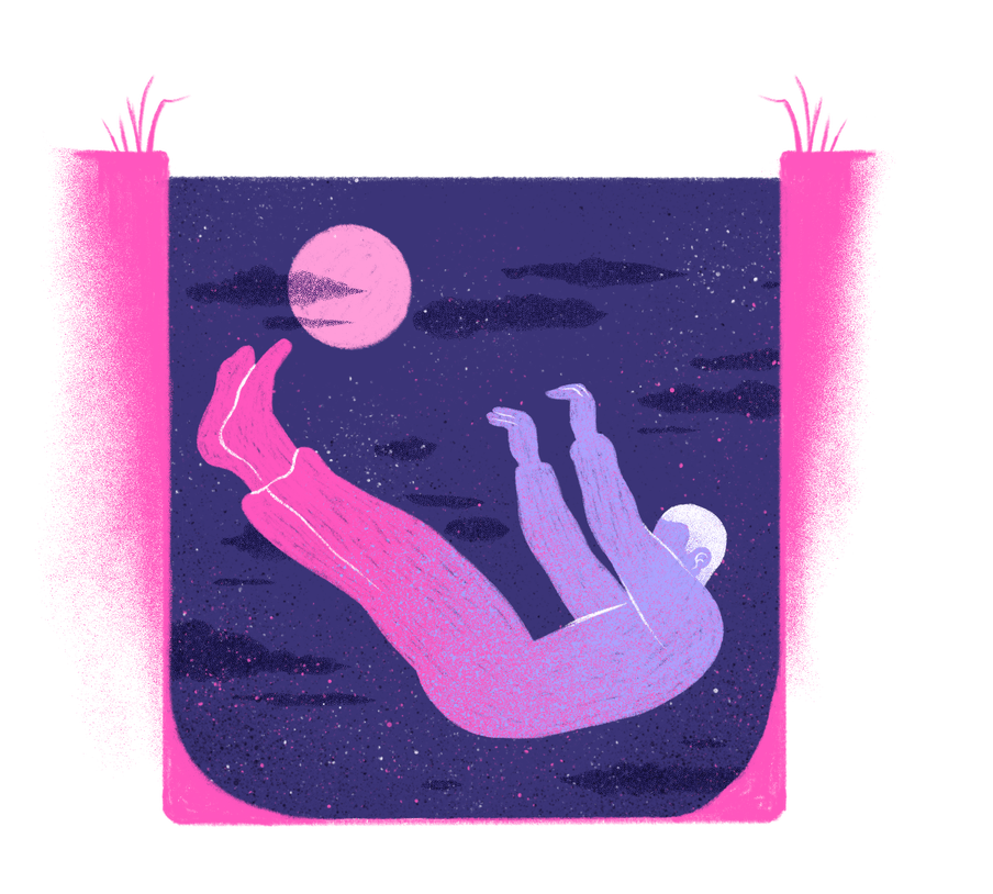 Illustration of figure freefalling, arms and legs raised, seemingly underground (pink roots seem to be growing up along either side of this image), against the backdrop of a dark purple sky, with a pink moon and clouds