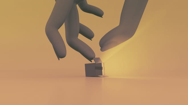 Yellow background, 3D illustration of a hand in shadows coming down from above to open a small flashlight which streams open yellow light and lays on its side
