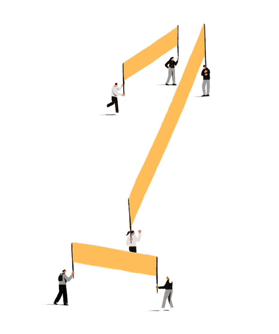 Illustration of people holding yellow banners, together forming the shape of the number 1