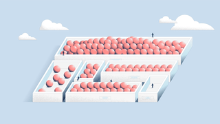 Illustration of six open boxes in various sizes filled with pinkish balls against a light-blue background. Some boxes are full, others only have a few balls or non. Small human-like figures sit on and stand next to the boxes.