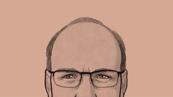 Cropped black and white illustration of a person's head shot, showing the top of their head, with short hair and glasses, sides of nose showing and part of ears