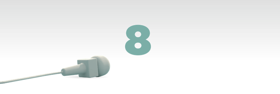 Illustration of the number eight in green with a mic laying in front of it