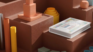 3D warm toned illustration of a well-lit white book lying on top of a brown box, with brown boxes leading down as steps around it, and random yellow, orange and grey poles or circular standing objects around