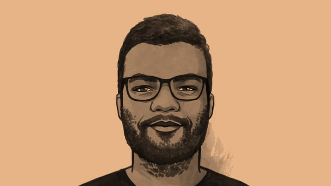 Hand drawn illustration of a man with a beard and glasses - Tanmoy Goswami - against a orange background.